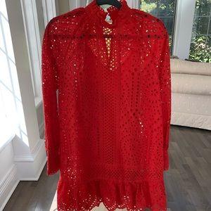 H&M red eyelet dress